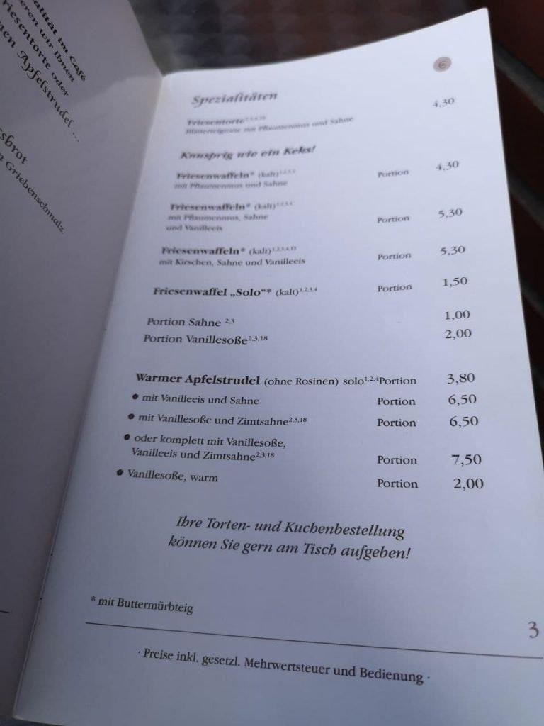 Friesenwaffeln in der Speisekarte